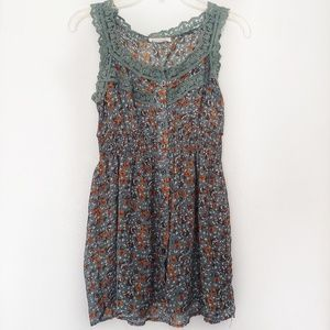 Anthropologie · Mine · Green Floral Button-Up Tank